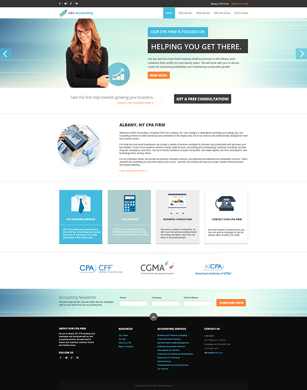 website template design for accounting firms on behance