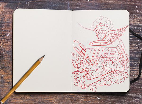 Nike paradise illlustration vector Landy therlonge art designer French cloud wings heaven chain Illustrator