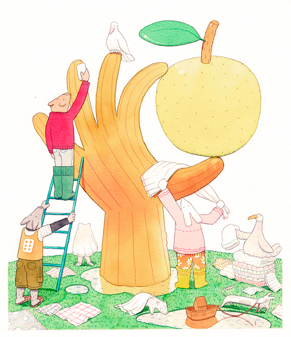 apple cleaning wattercolour animals childrens illustration childrens books bath hand Tree  colective work