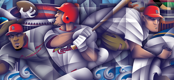 Sports Wall Murals st. louis sports wall mural on behance
