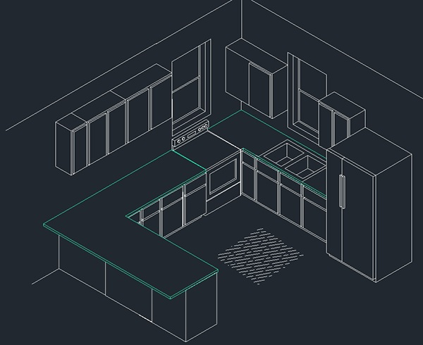 Isometric kitchen in autocad on behance for Cad interior design