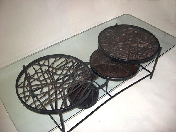 Handmade Metal Coffee Table Steel Copper Brass Oak On