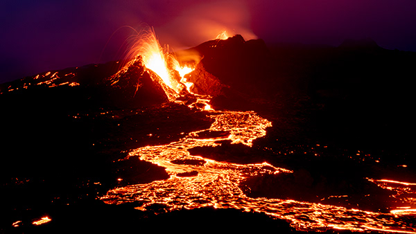 Volcanic eruption in Iceland pt. III - Night Edition