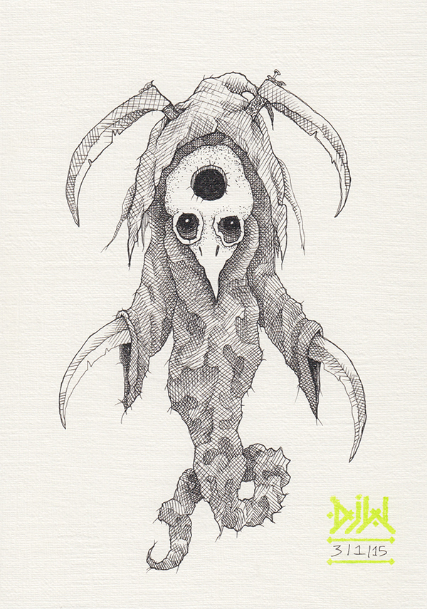 bird skull scythe demon monster ghost