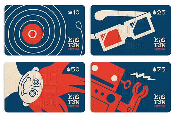 Big fun columbus official business card on behance after showing them my gift card ideas though i wound up creating what is now their official business card this is still one of my favorite projects colourmoves