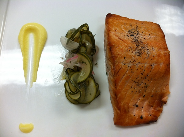 ... Smoked Salmon- Pan Seared, Norwegian Cucumber Salad, Potato Parmentier