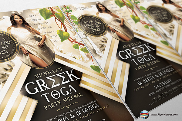 greek toga flyer template is a premium photoshop psd flyer poster template designed by flyerheroes to be used with photoshop cs4 and higher