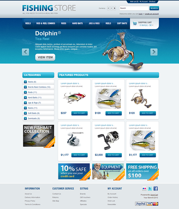 opencart bookstore template - fishing store opencart theme on behance