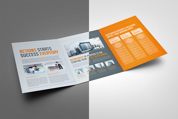 business tri fold pricing brochure on pantone canvas gallery