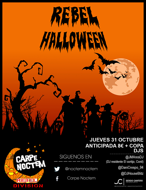 flyer ticket halloween party on student show