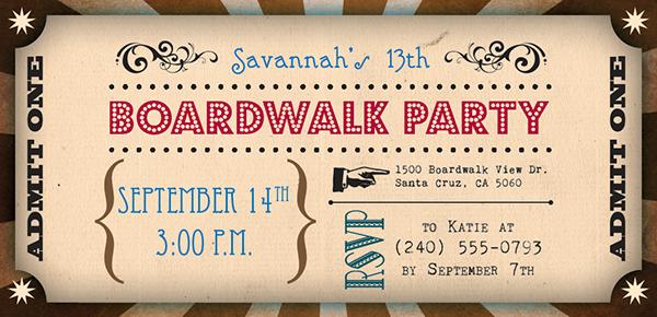 boardwalk theme birthday invitation on behance
