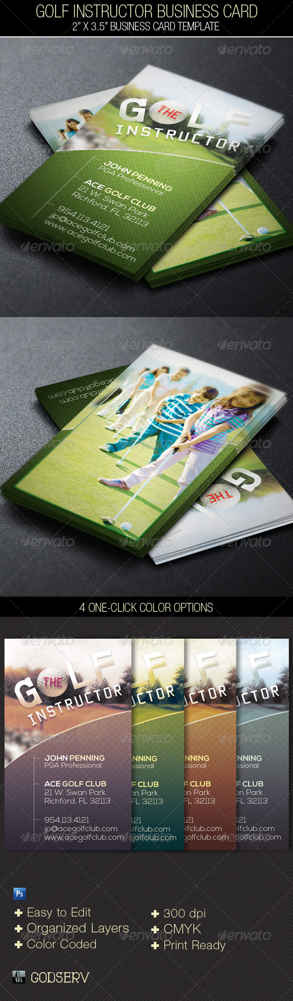 Golf Instructor Business Card Template on Behance