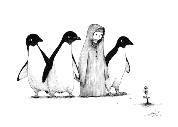 Line Drawing Penguin : Adventure of boy with penguin on behance