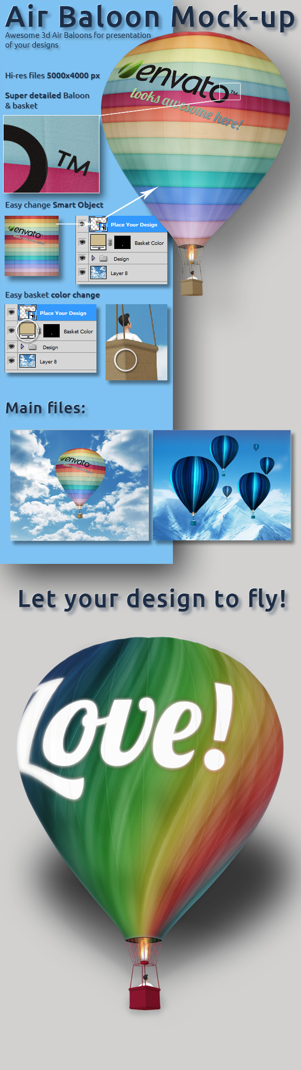 3D realistic air baloon clouds SKY Fly mock-up presentation smart object psd template