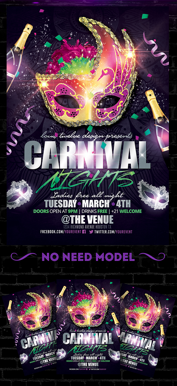 Carnival Nights Mardi Gras Flyer Template On Behance