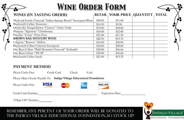 wine order form on behance