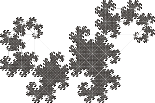 fractal recursive recursion mathematical iterate iteration tile Tessellation tesselate repeat pattern curve space-filling rep-tile Hausdorff dimension line fractional dimension tangent dust Fibonacci Golden Ratio L-system Lindenmayer ifs iterated function system grey gray black scale square rectangle right isoceles triangle equilateral triangle Gasket circle jagged Sharp continuous smooth Spiral scalar rough detail geometry geometric Levy's curve Hilbert space-filling curve Gosper tile Blancmange curve von Koch snowflake von Koch quadratic tile Peano space-filling curve Sierpinski gasket Sierpinski carpet Sierpinski space-filling curve Cesaro curve Heighway's dragon dragon curve twindragon curve Branching Devil's Staircase Pythagorean tree sphinx carpet Pentagonal hexagonal heptagonal octagonal star bifurcating bifurcation Tree  self-similar one dimensional Two Dimensional plane-filling rhombus copy period-doubling periodic aperiodic de Rham curve undifferentiable