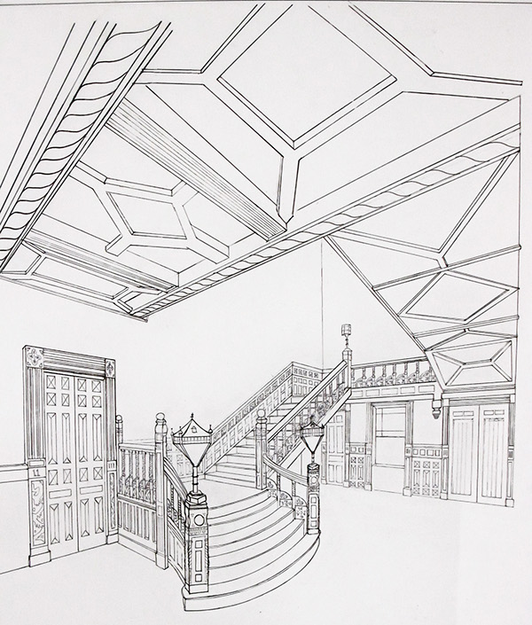 Technical hand drawings spring 2011 on behance for Living room 2 point perspective