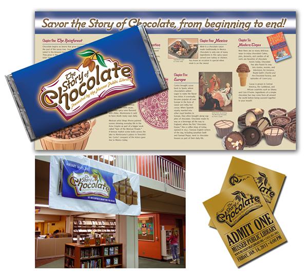 muscatine chocolate library brochure logo iowa quad cities