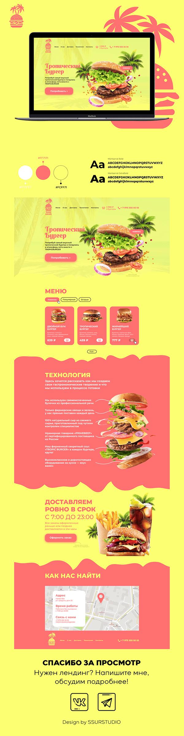 TROPIC BURGER – fast food restaurant (landing page)