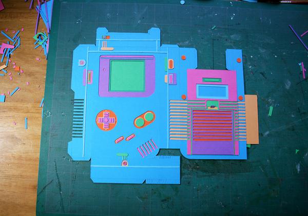 zim and zou paper game boy game tetris craft cutting origami  art Style Retro vintage detail