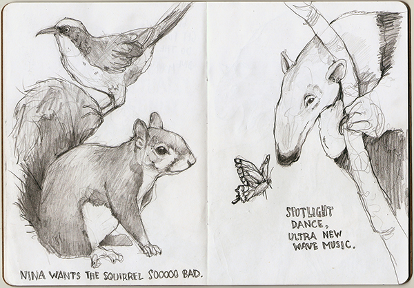 sketchbook animals text Project