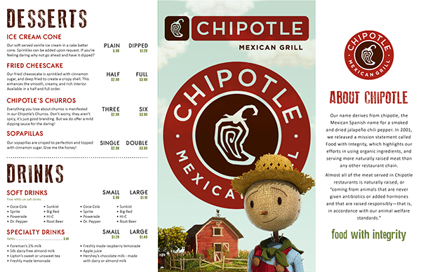 picture regarding Chipotle Printable Menu named Chipotle Menu Reimagined upon Behance