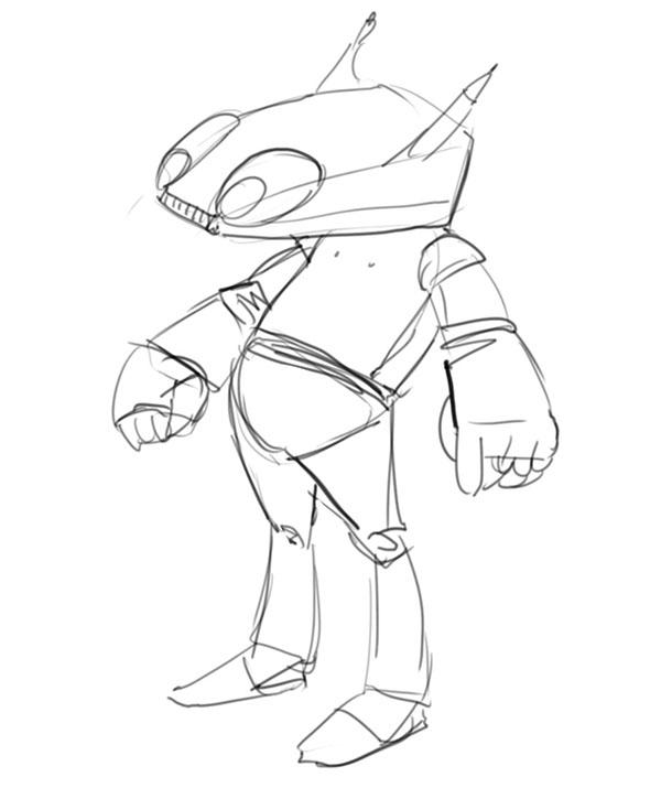 happy robot  sketch