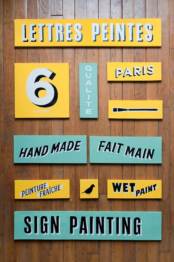 sign painting HAND LETTERING paint enseigne typo Character vintage boards hand made decoration
