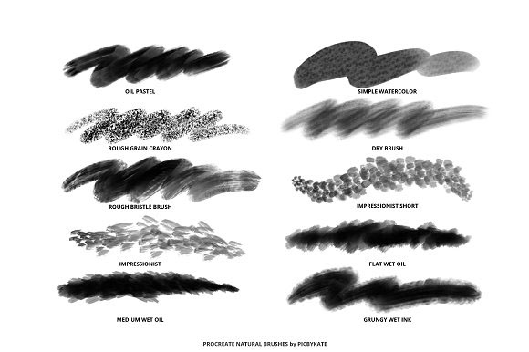 25 Procreate Natural Media Brushes by PicByKate on Behance