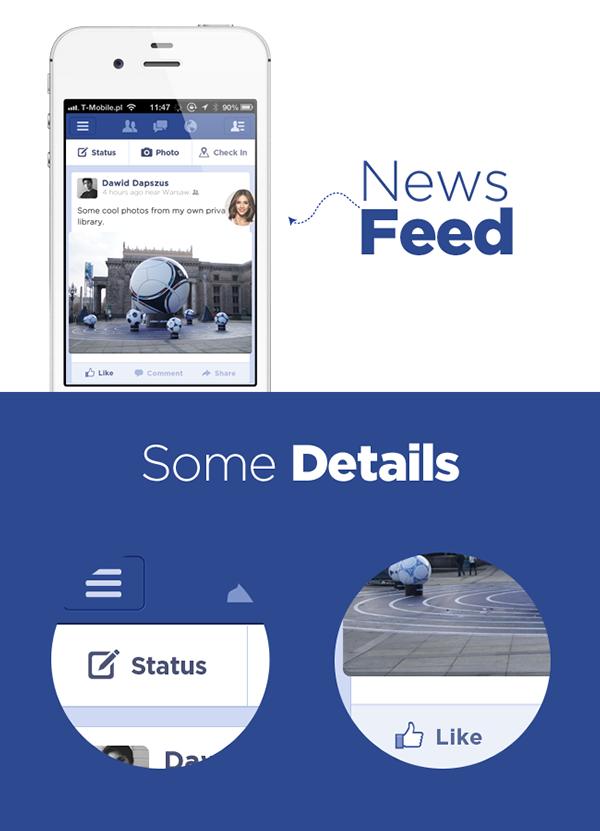 flat concept clean fb mobile iphone app application UI design blue icons