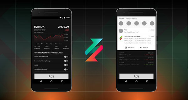 2 mobile phones that shows other screenshots of Stockasstic's interface design