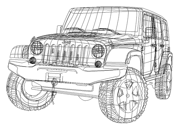 Jeep Side View Drawing Actual Illustration