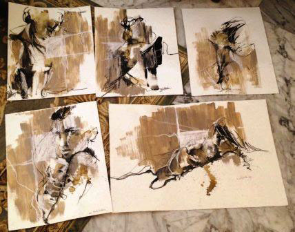 art fine art visual arts  figurative concept Coffee ink color artist Exhibition  face expressions emotions mother body