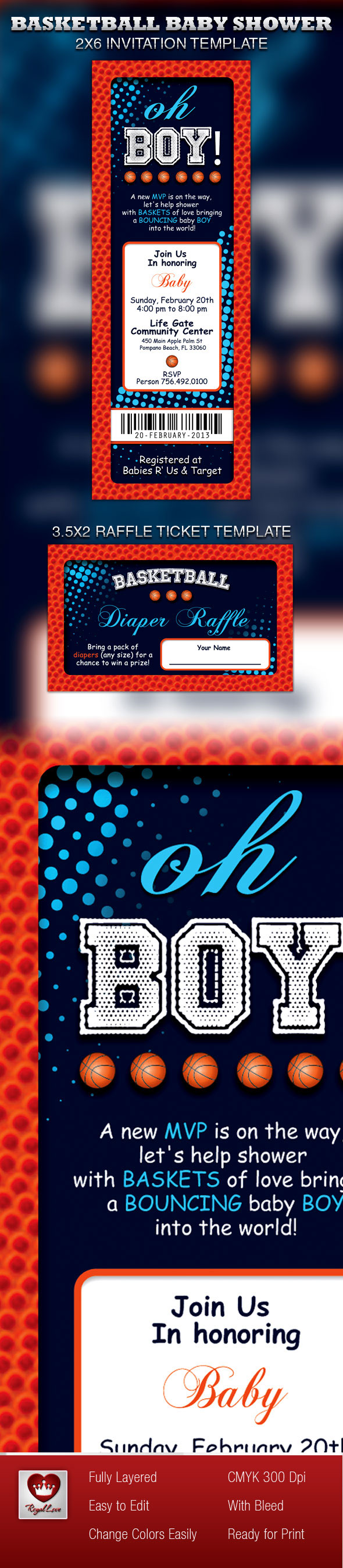 Basketball Baby Shower Invitation Ticket on Behance