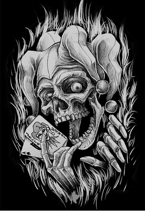 The jester skull on behance for Joker skull tattoo