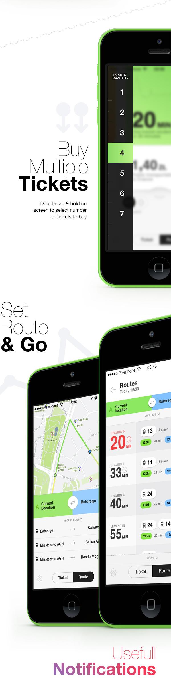ticket train cracow krakow bilet samborek route time Transport motion design city app ios iphone