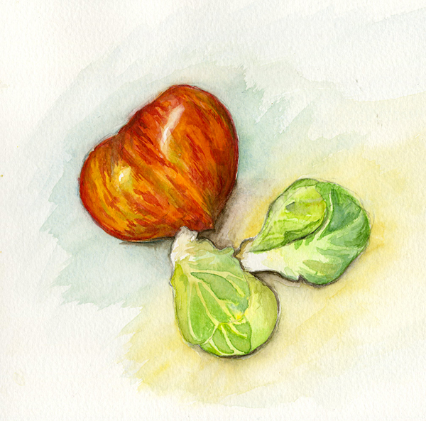 sketchbook,watercolor,food illustration