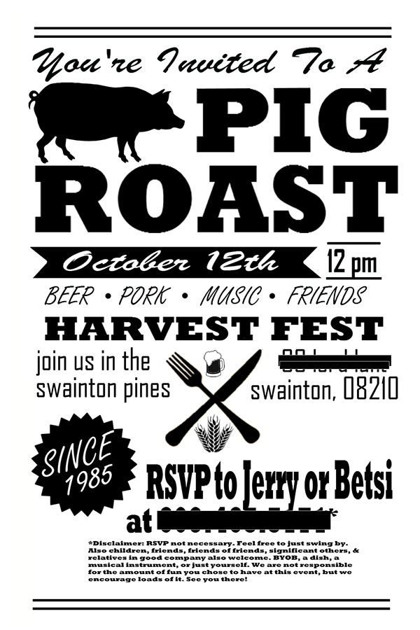 Pig Roast Party Invitation FlyerPost Card on Behance – Party Invitation Flyer