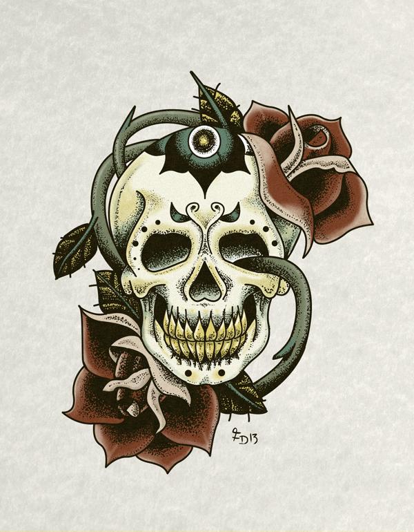 Skull And Roses Tattoo Flash Art On Behance