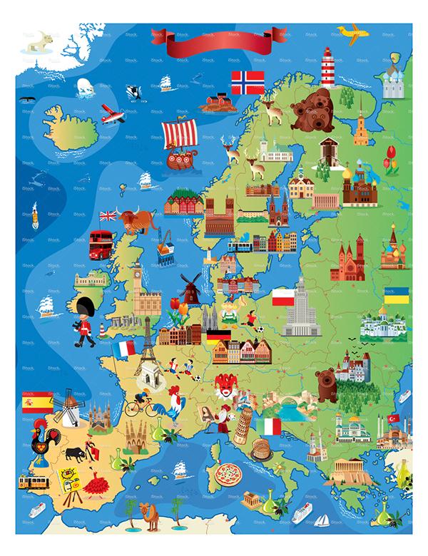 Europe Cartoon Map On Behance