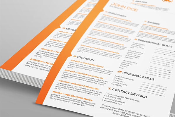 two pages resume cover letter template on behance