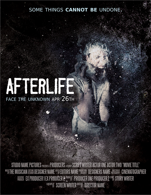 Afterlife, horror movie poster template on Behance