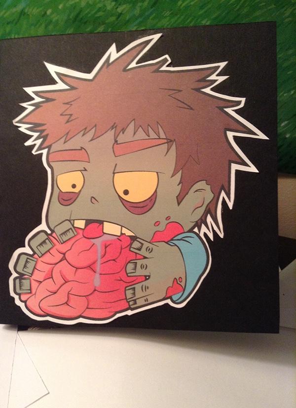 zombie heart t-shirt cartoon card brain