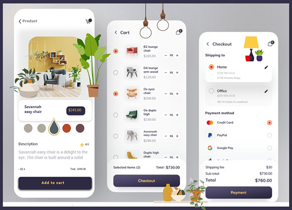 UI MOBILE ANDROID/IOS APPS - E-COMMERCE DELIVERY APPS