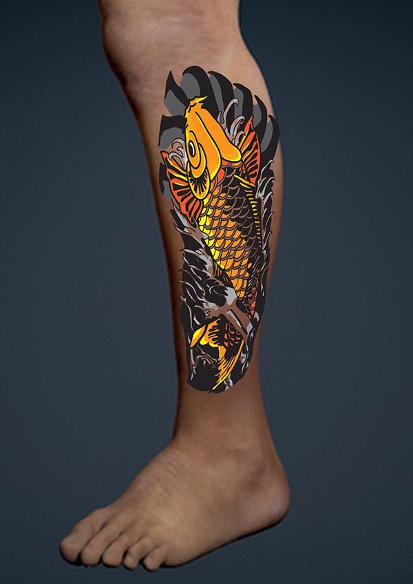 koi fish calf tattoo design on behance