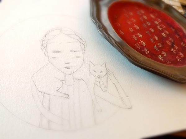 portrait  tableware  tin plate  red  WOMAN  woman portrait  retro  customised  cat  white  pattern  avant-garde decoration