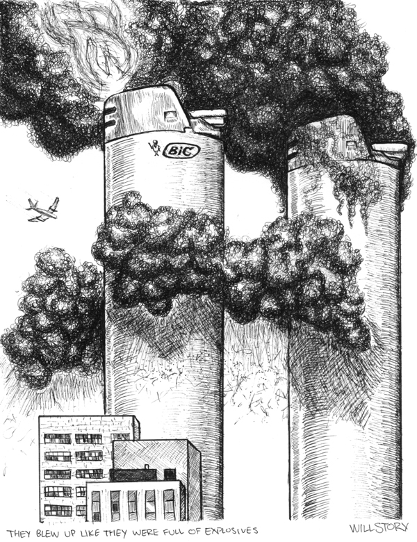 It is a graphic of Witty Twin Towers Drawing