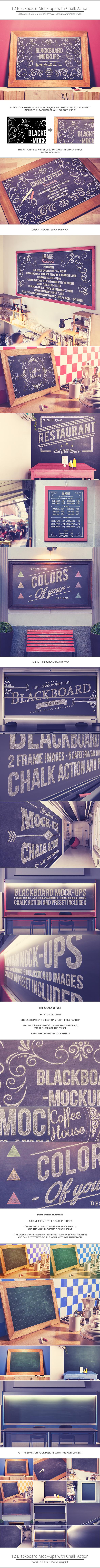blackboard chalkboard mock ups with chalk action on behance