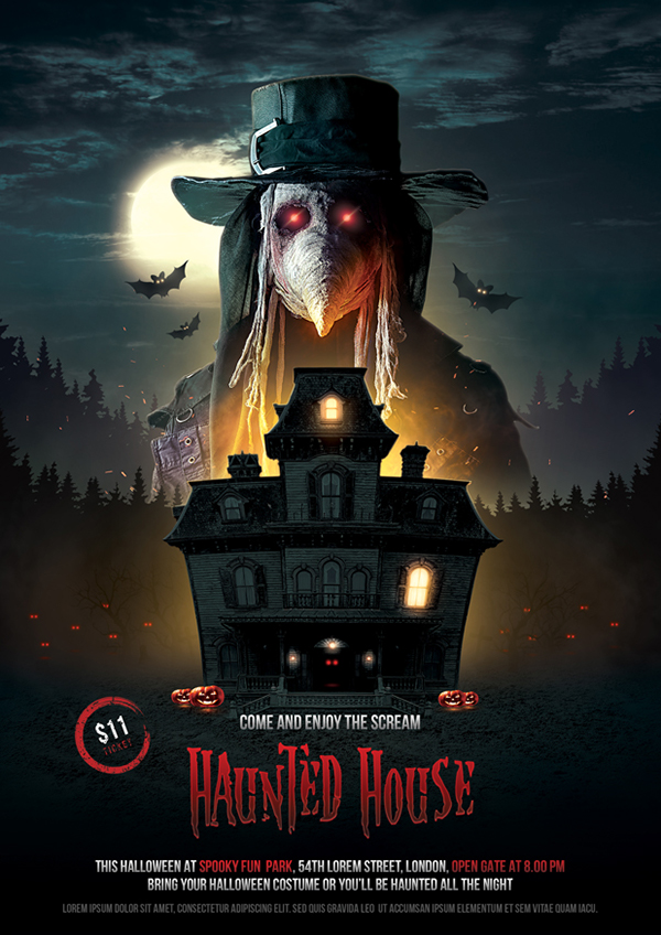 haunted house halloween flyer on behance